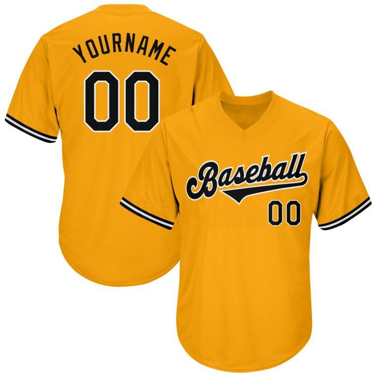 Custom Gold Black-White Authentic Throwback Rib-Knit Baseball Jersey Shirt