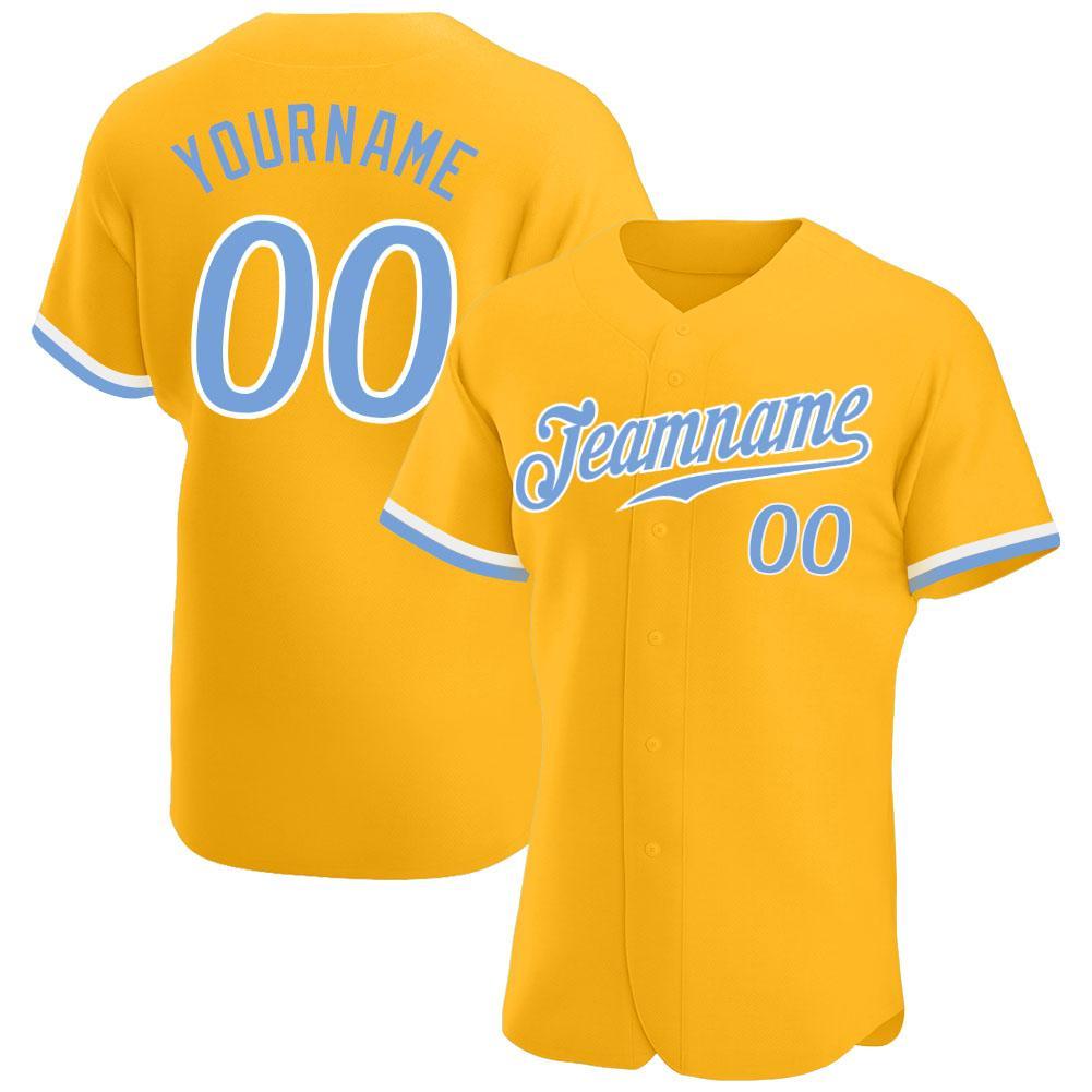 Custom Gold Light Blue-White Authentic Baseball Jersey