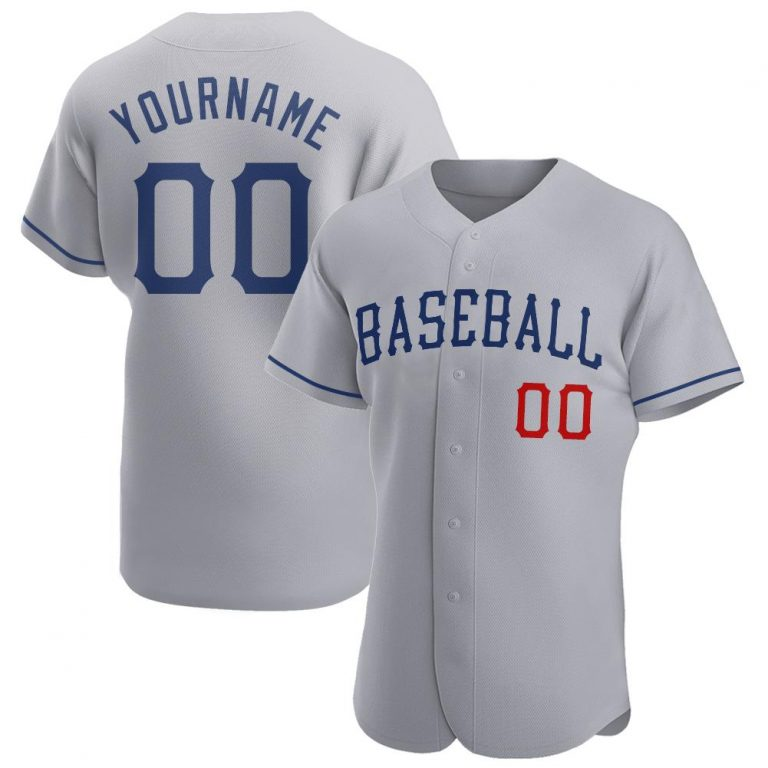 Custom Gray Royal-Red Authentic Baseball Jersey