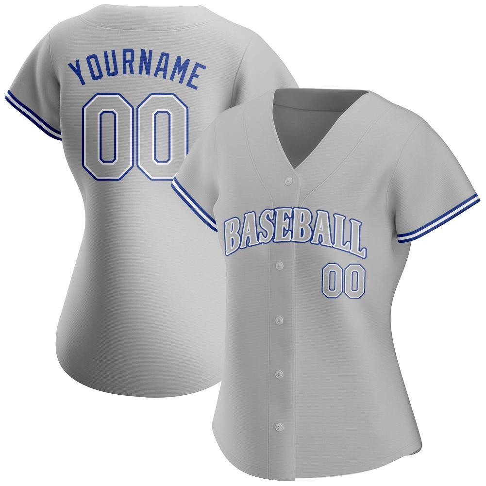 Personalized Gray Gray Royal Authentic Baseball Jersey