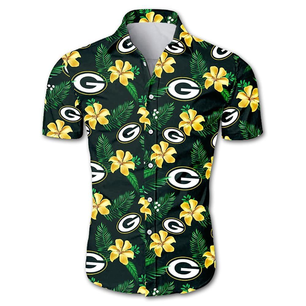 Green Bay Packers Hawaiian Shirt Green Floral