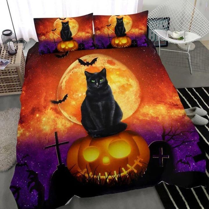 Halloween Black Cat with Golden Moon Bedding Set