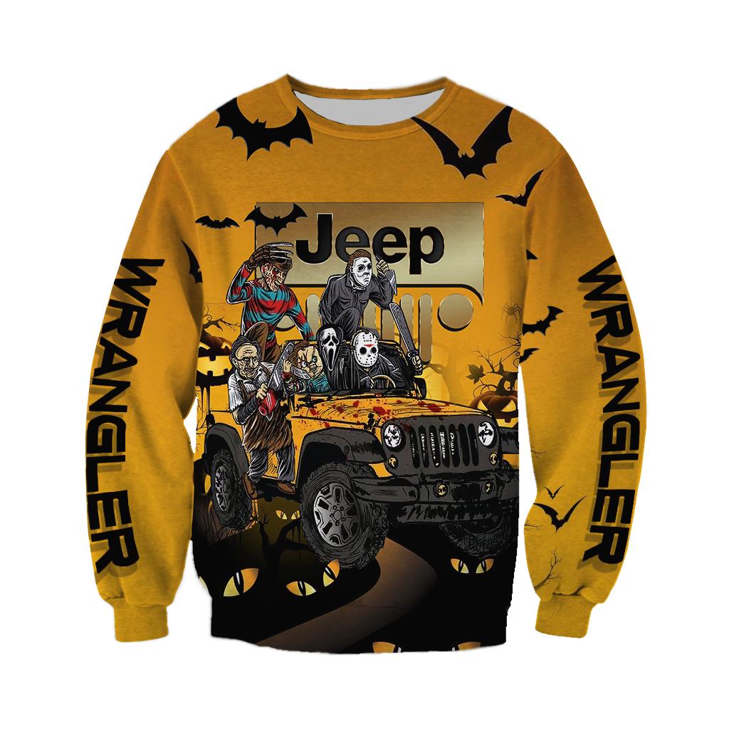 Horor Characters drive Jeep Halloween 3D sweatshirt