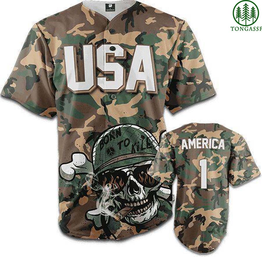 M81 USA soldiers skull Born to kill baseball Jersey Shirt