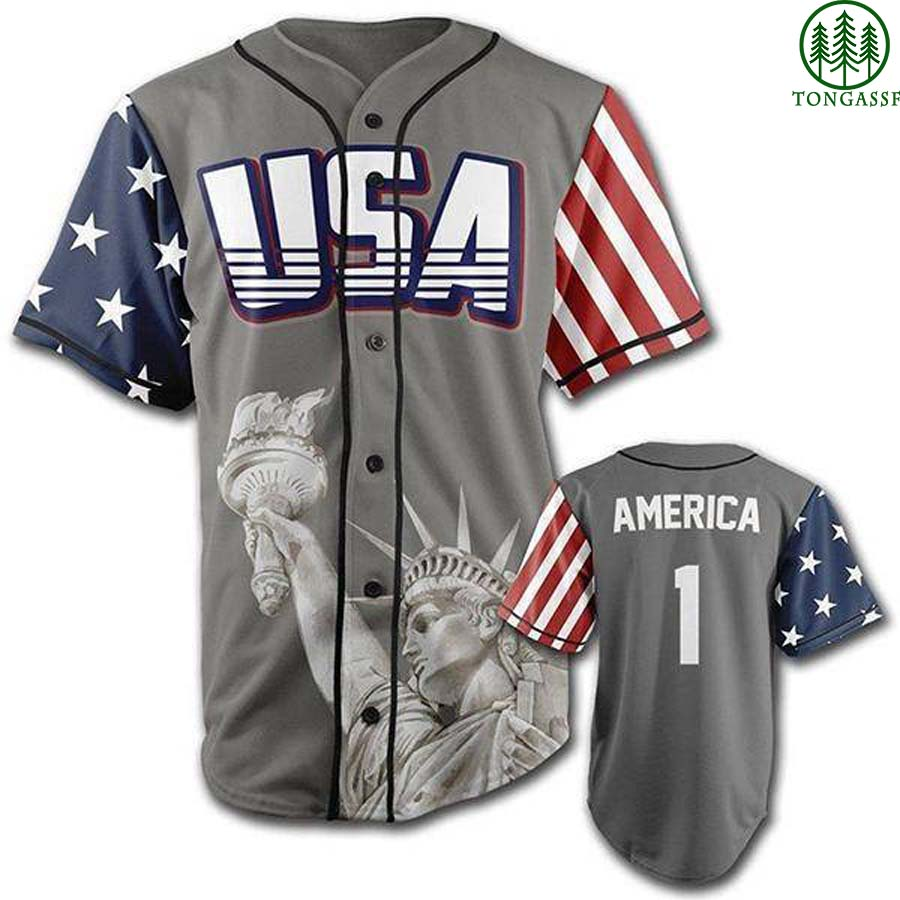 Grey American First Statue of Liberty baseball jersey Shirt