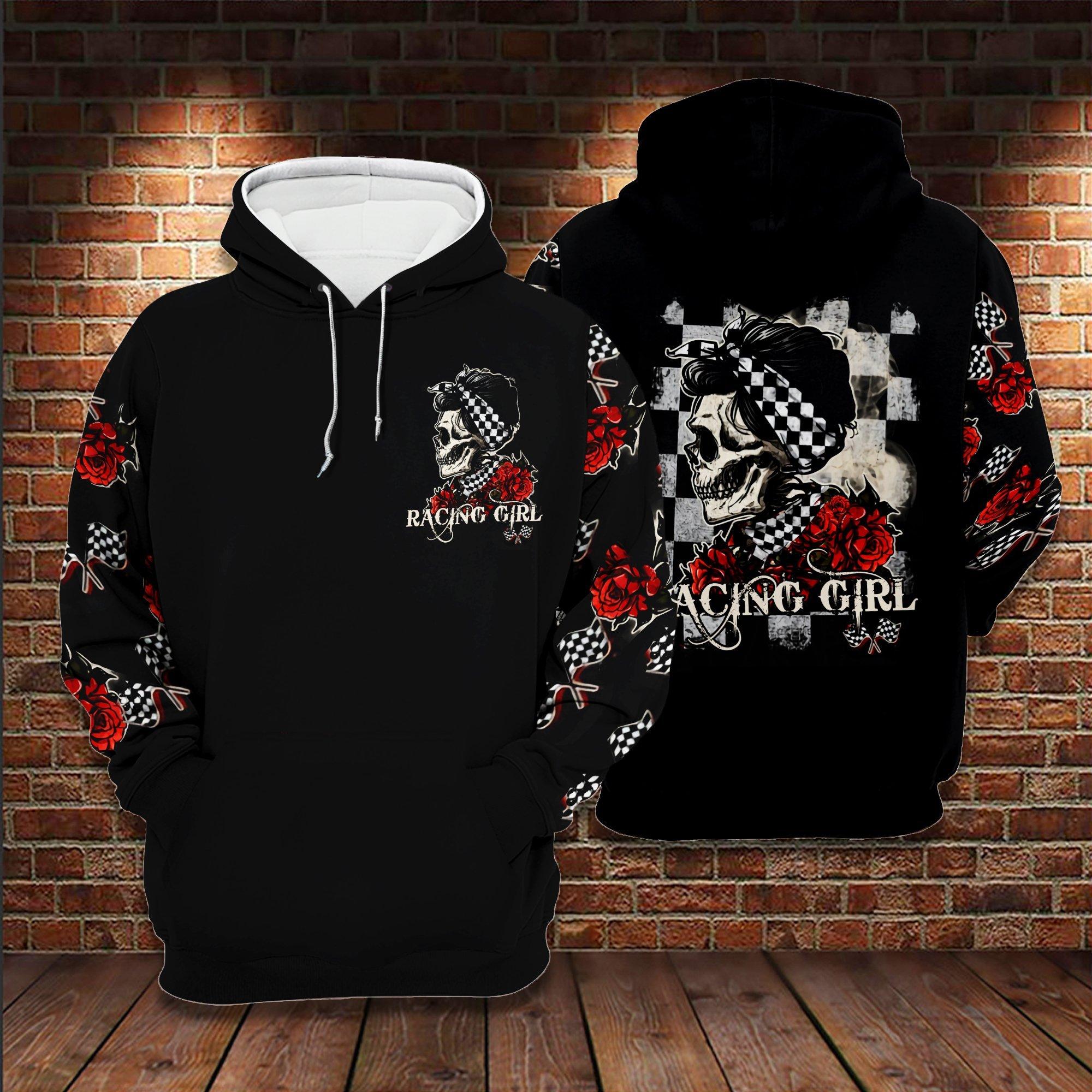 Skull Racing Girl 3D Hoodie Halloween