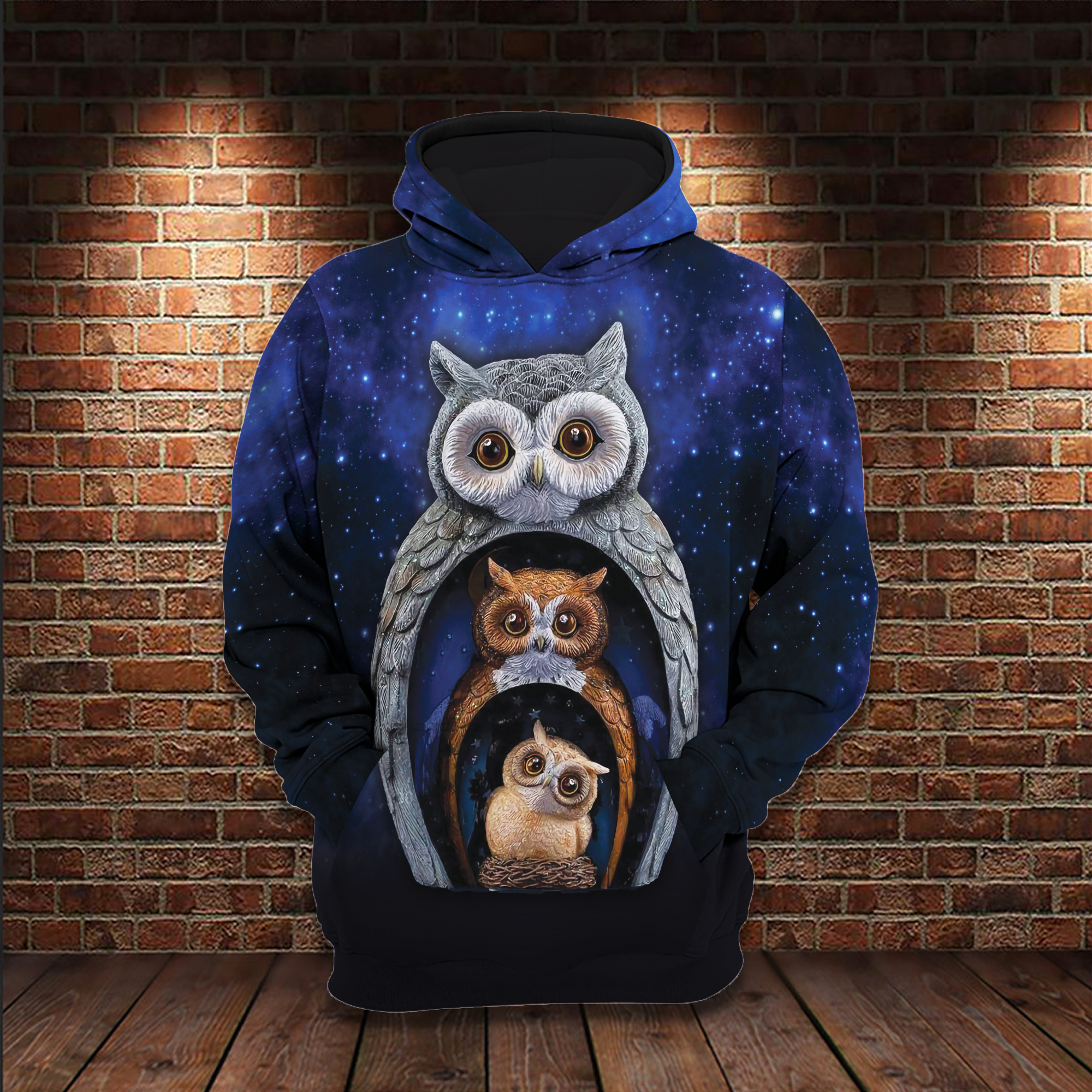Owl Family At Midnight Halloween 3D Hoodie