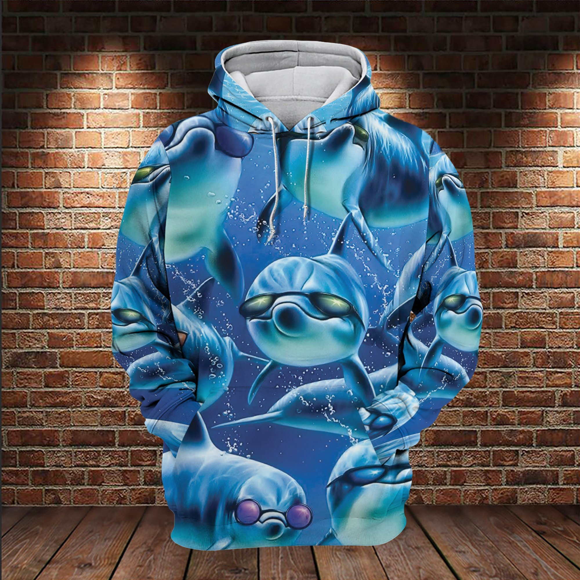 Squad Cool Sunglasses Dolphins 3D Hoodie