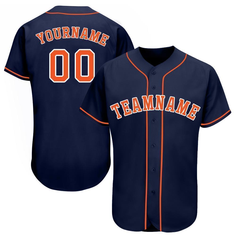 Custom Navy Orange-White Baseball Jersey