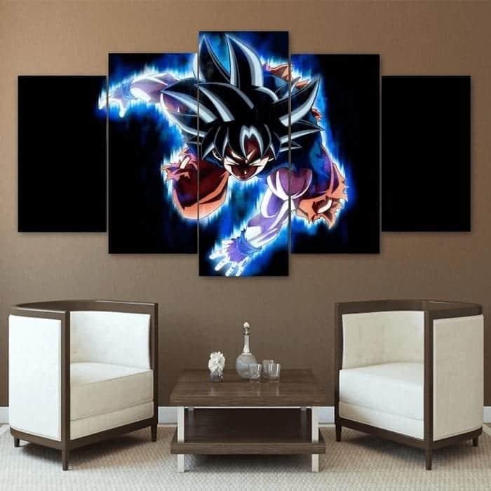 Ultra Instinct Son Goku Attack Blue Flame 5 panel Canvas Print