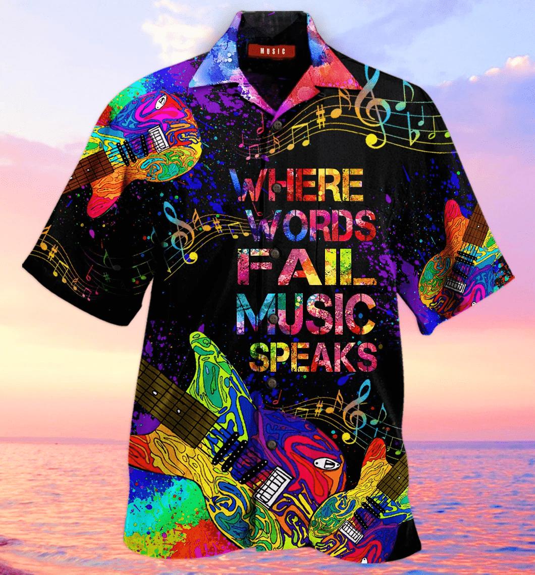 Guitar Where world fail Music Speaks Hawaiian Aloha Shirts