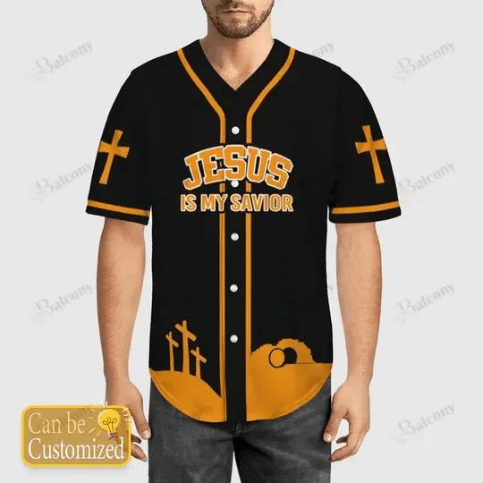 Custom name number Jesus is My Savior Baseball Jersey Shirt