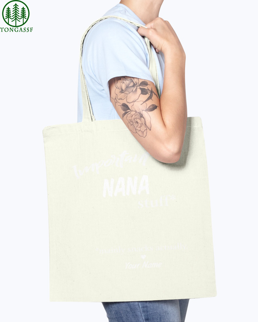 important stuff mainly snacks actually tote bag
