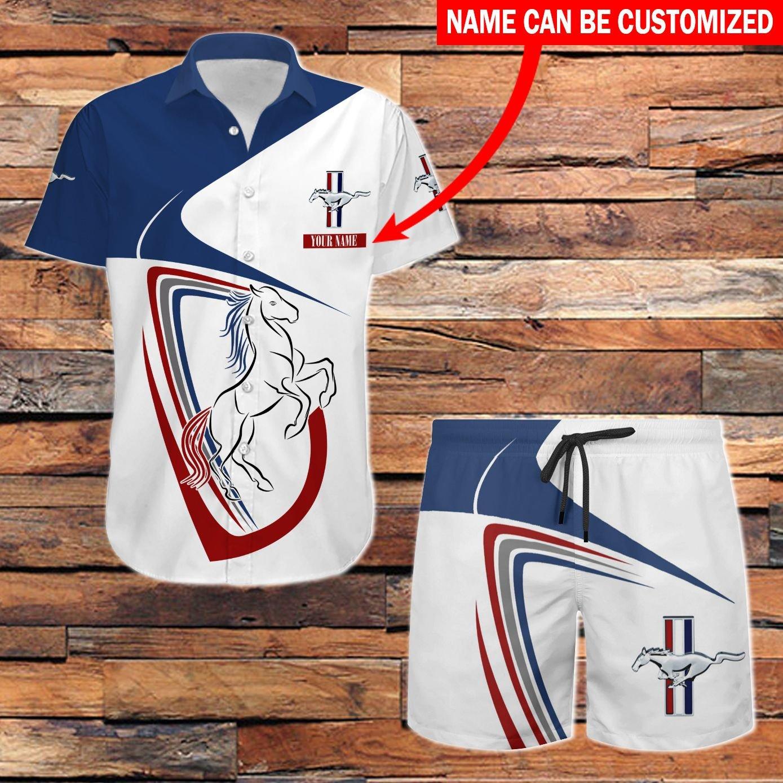 Ford Mustang white Hawaiian shirt and Beach Shorts