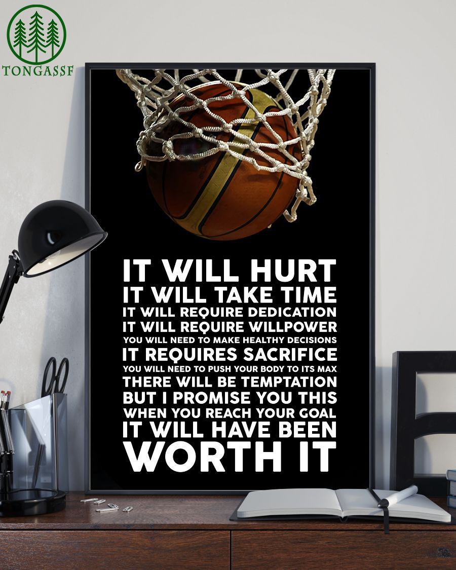 It will hurt but it will be worth it basketball vertical poster
