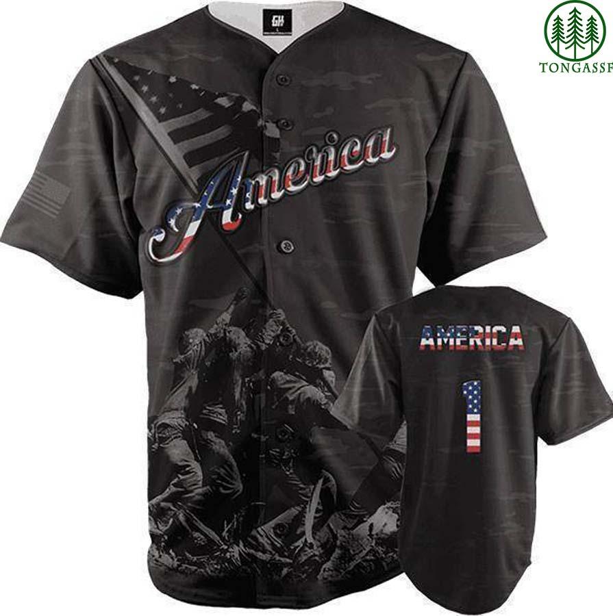 Black camo American soldiers baseball jersey shirts