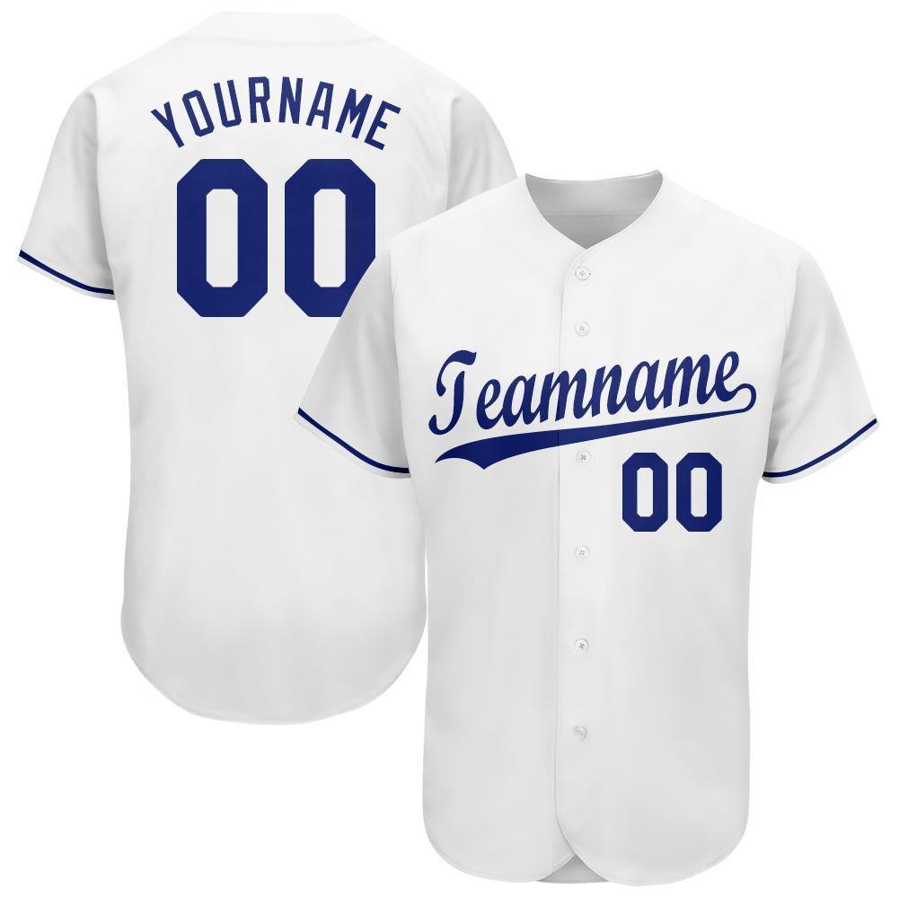 Custom Name and Number White Royal Baseball Jersey