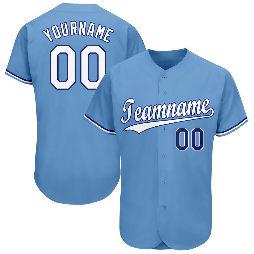 Custom Light Blue White-Royal Premium Baseball Jersey for team