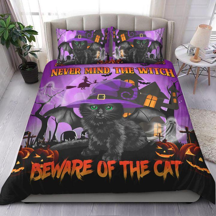 Never Mind The Witch Beware Of The Cat Halloween Bedding Set