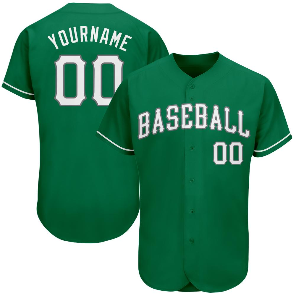 Personalized Kelly Green White-Gray Authentic St. Patrick s Day Baseball Jersey