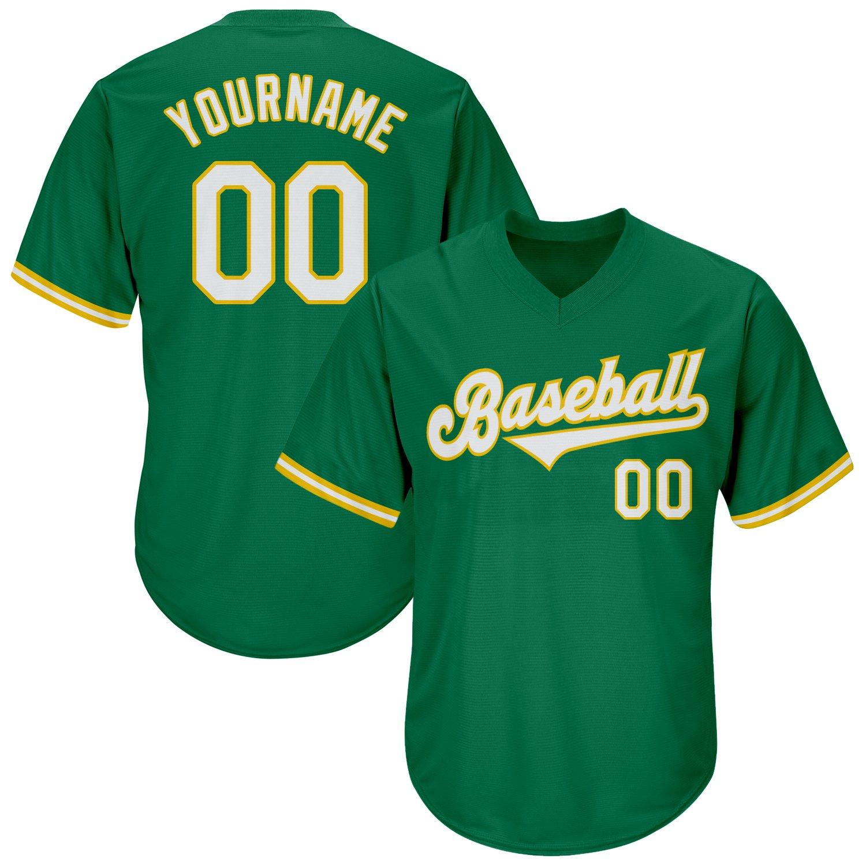 Custom Kelly Green White-Gold Authentic Throwback Rib-Knit Baseball Jersey Shirt