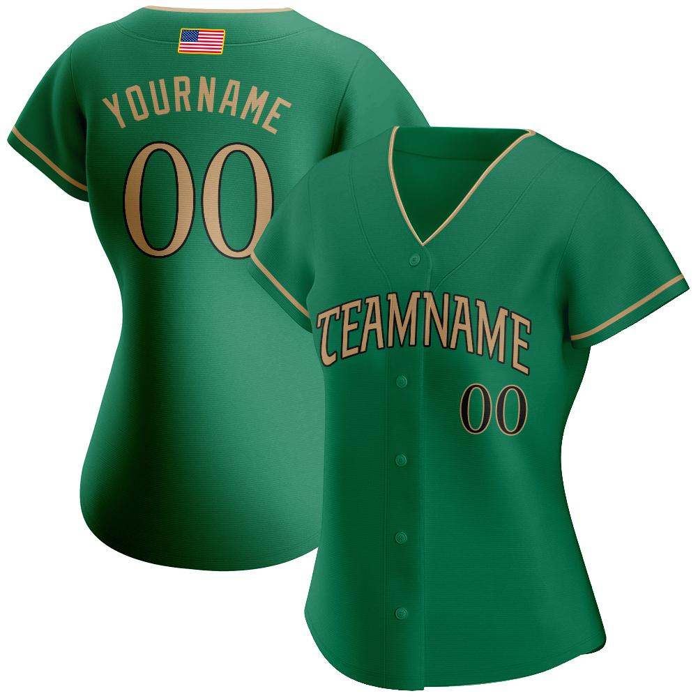 Custom Kelly Green Old Gold-Black Authentic American Flag Baseball Jersey