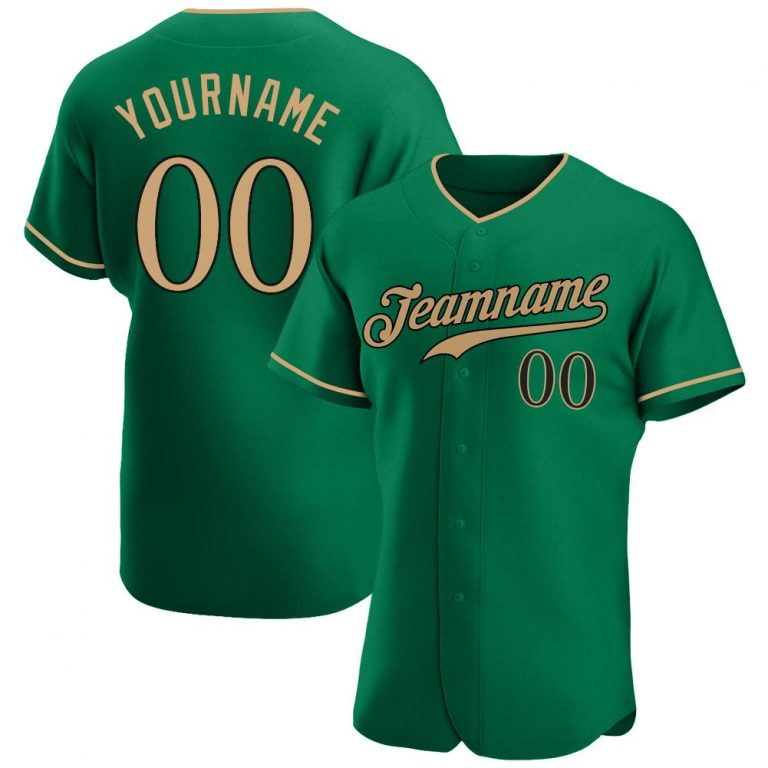 Custom Kelly Green Old Gold-Black Authentic Baseball Jersey