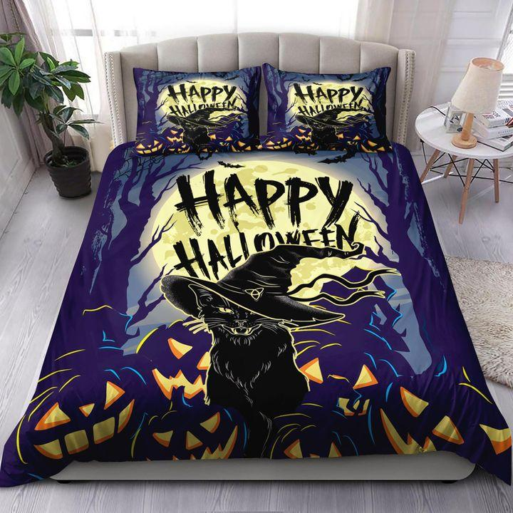 Black witch Cat Halloween Big Moon Bedding Set