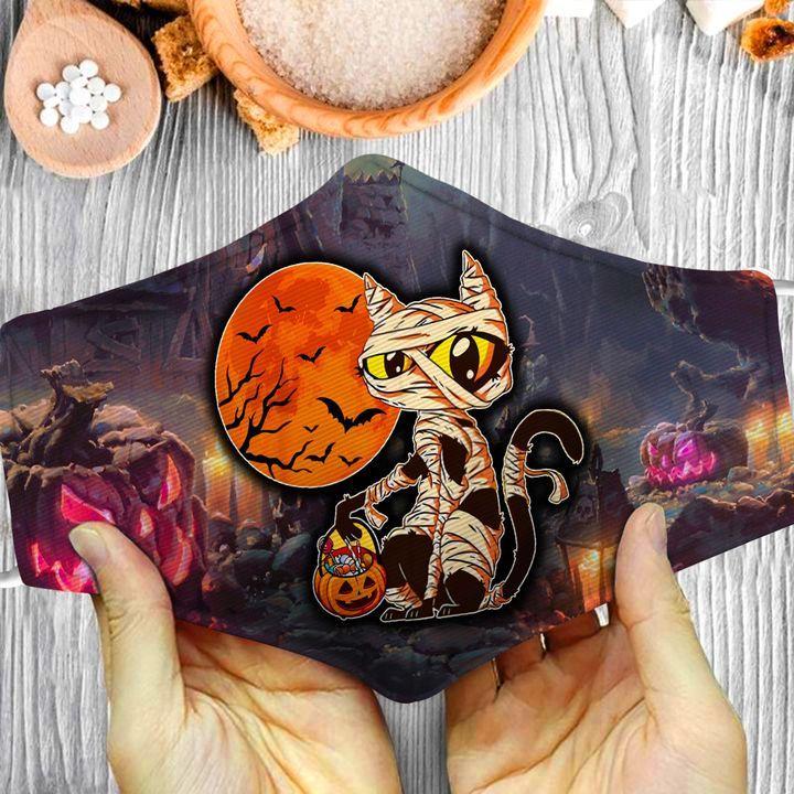 Halloween mummy cat purple light pumpkin face mask