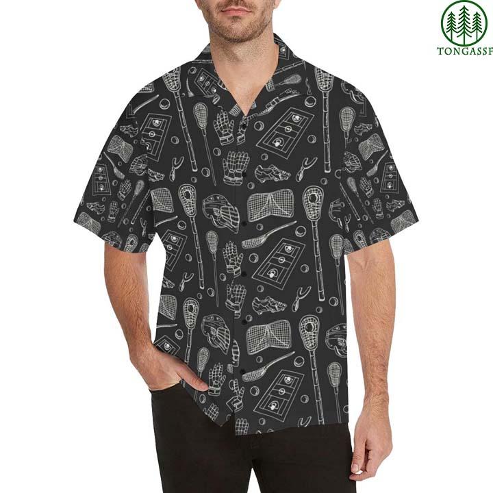 lacrosse pattern print hawaiian shirt