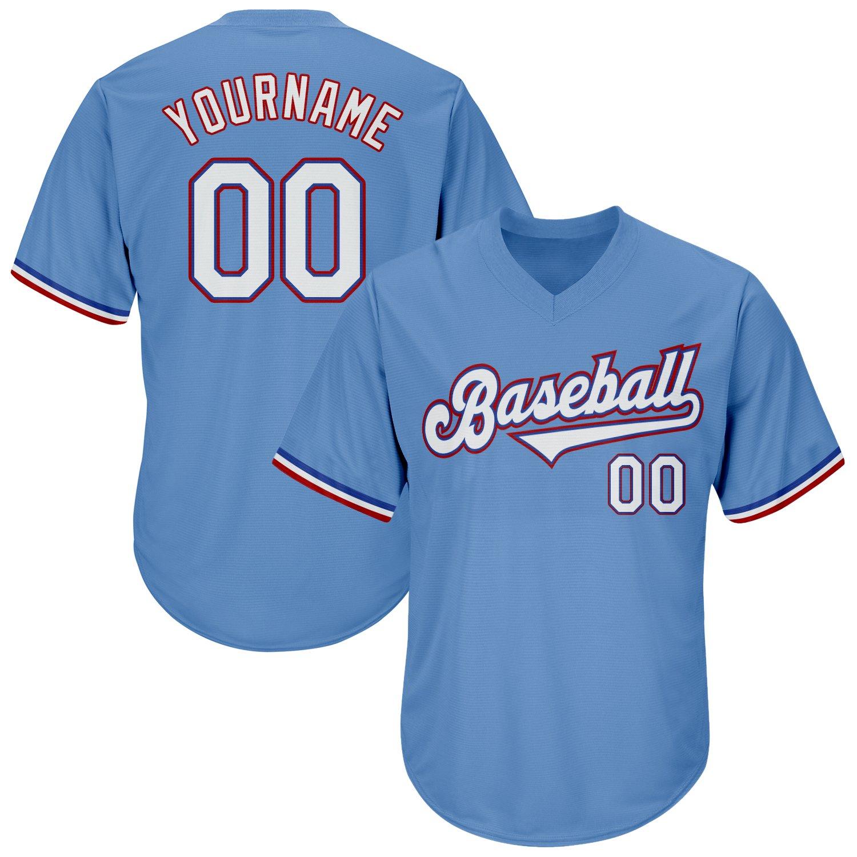 Custom Light Blue White-Red Authentic Throwback Rib-Knit Baseball Jersey Shirt