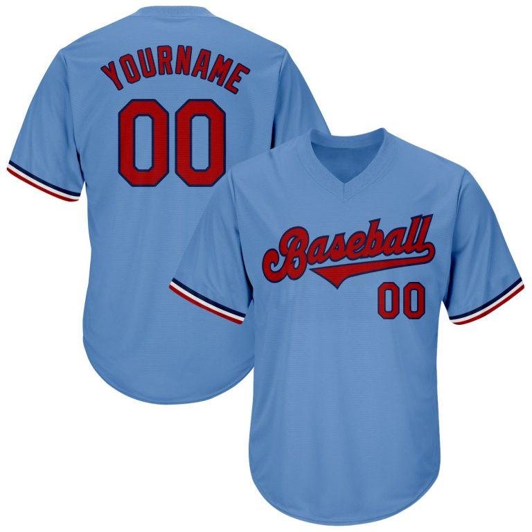 Custom Light Blue Red-Navy Authentic Throwback Rib-Knit Baseball Jersey Shirt
