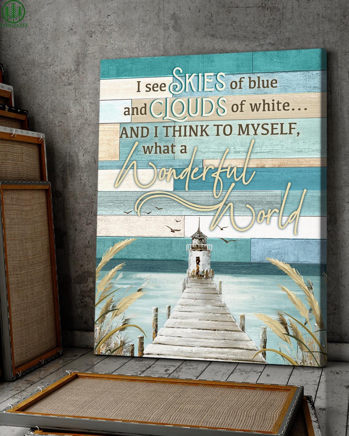 lighthouse ocean skies clouds wonderful world canvas