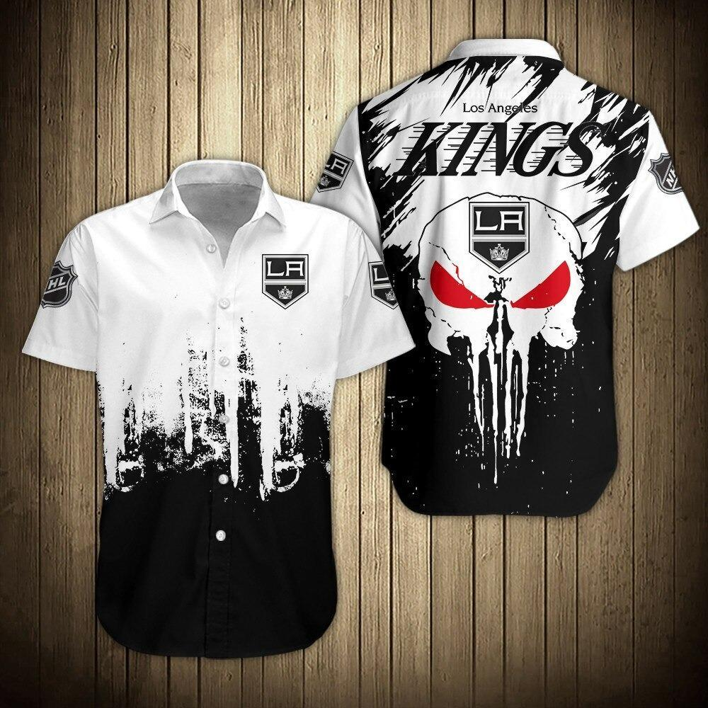 NHL Los Angeles Kings Skull Hawaiian Button Up Shirt