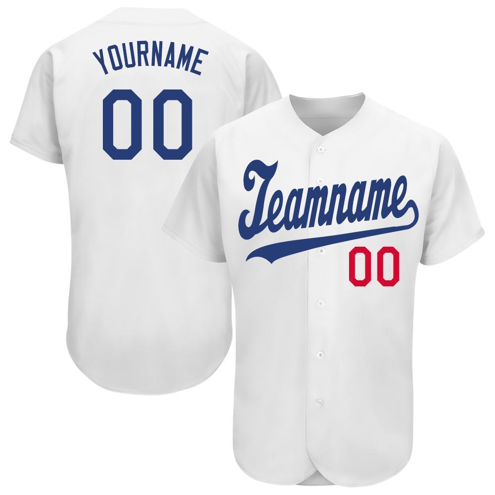 Personalized White Royal-Red Baseball Jersey for team