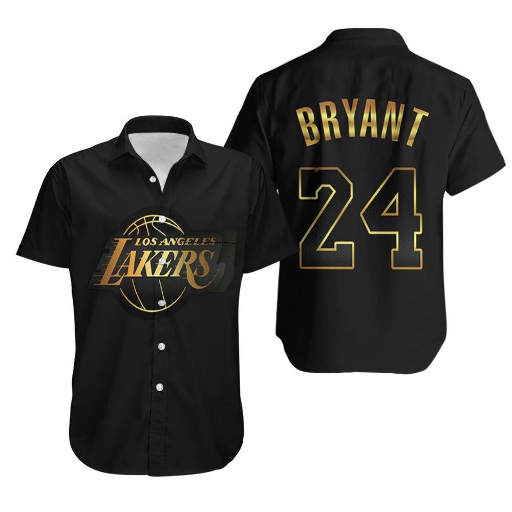 Los Angeles Lakers Kobe Bryant 24 Gold Black Hawaiian Shirt