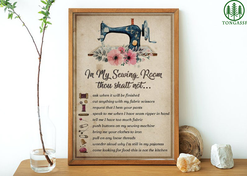 Lover sew Thou Shall Not Sewing Room Poster
