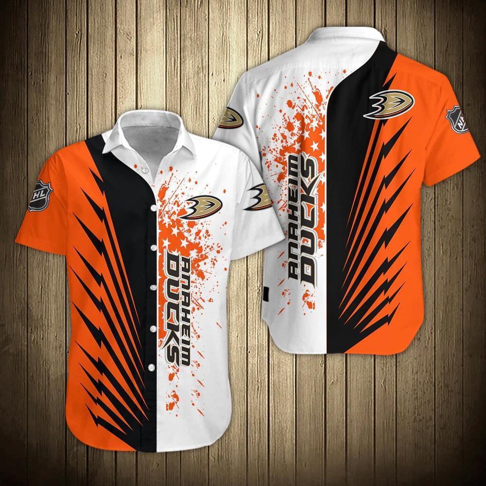 NHL Anaheim Ducks Button Up Hawaiian Shirt