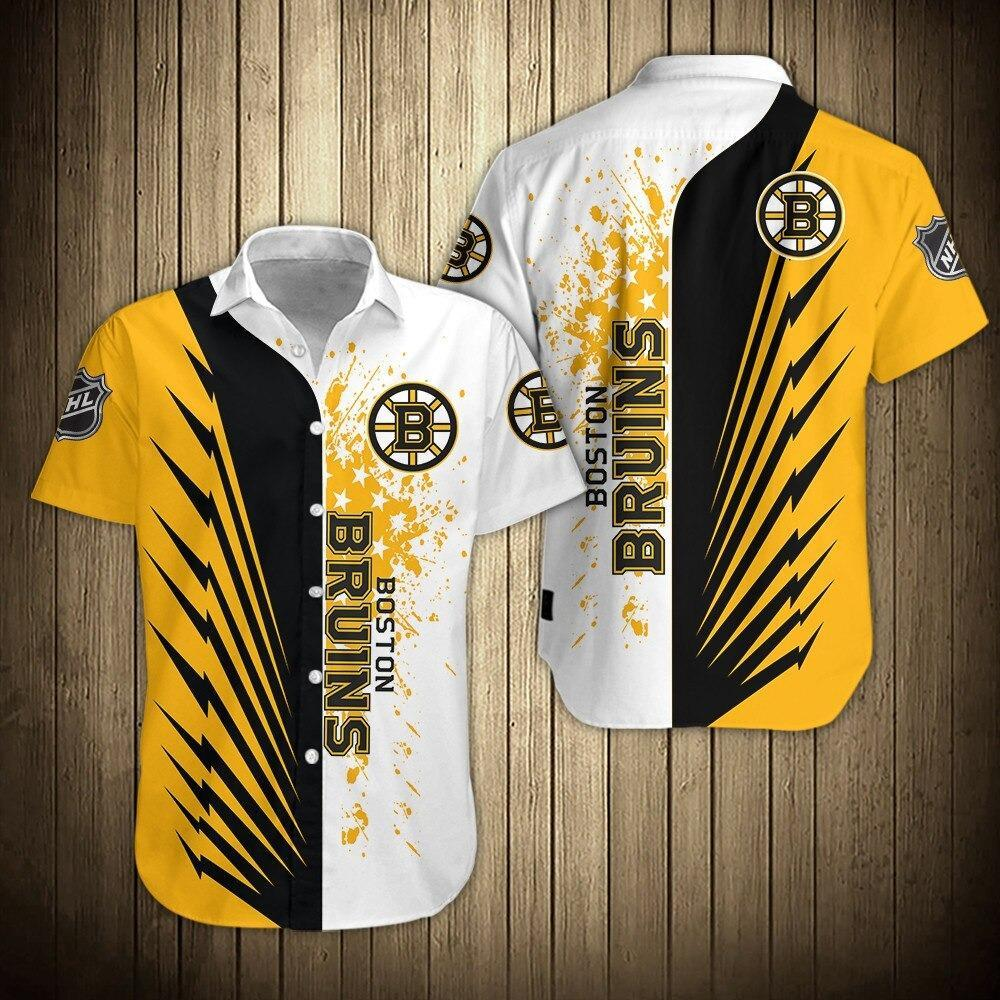 NHL Boston Bruins Button Up Hawaiian Shirt