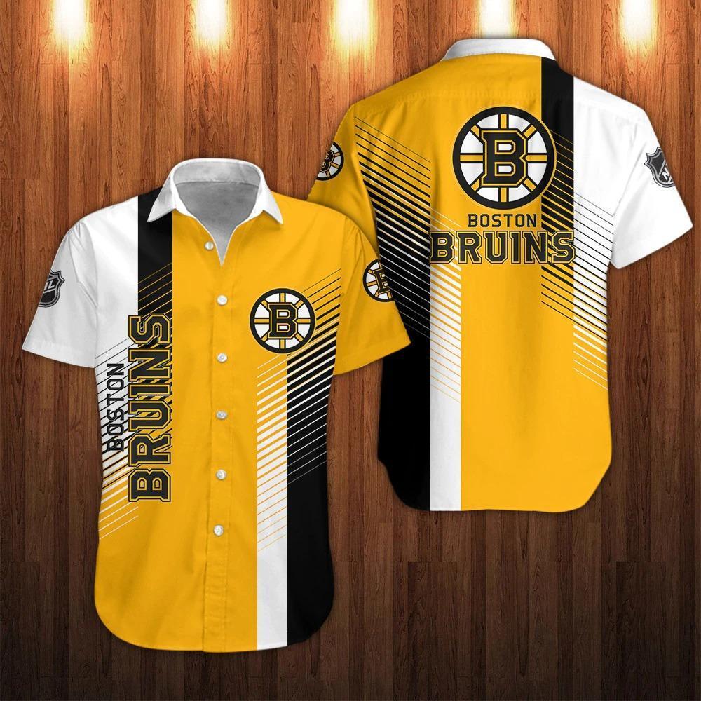 NHL Boston Bruins striped Short Sleeve Hawaiian Shirt