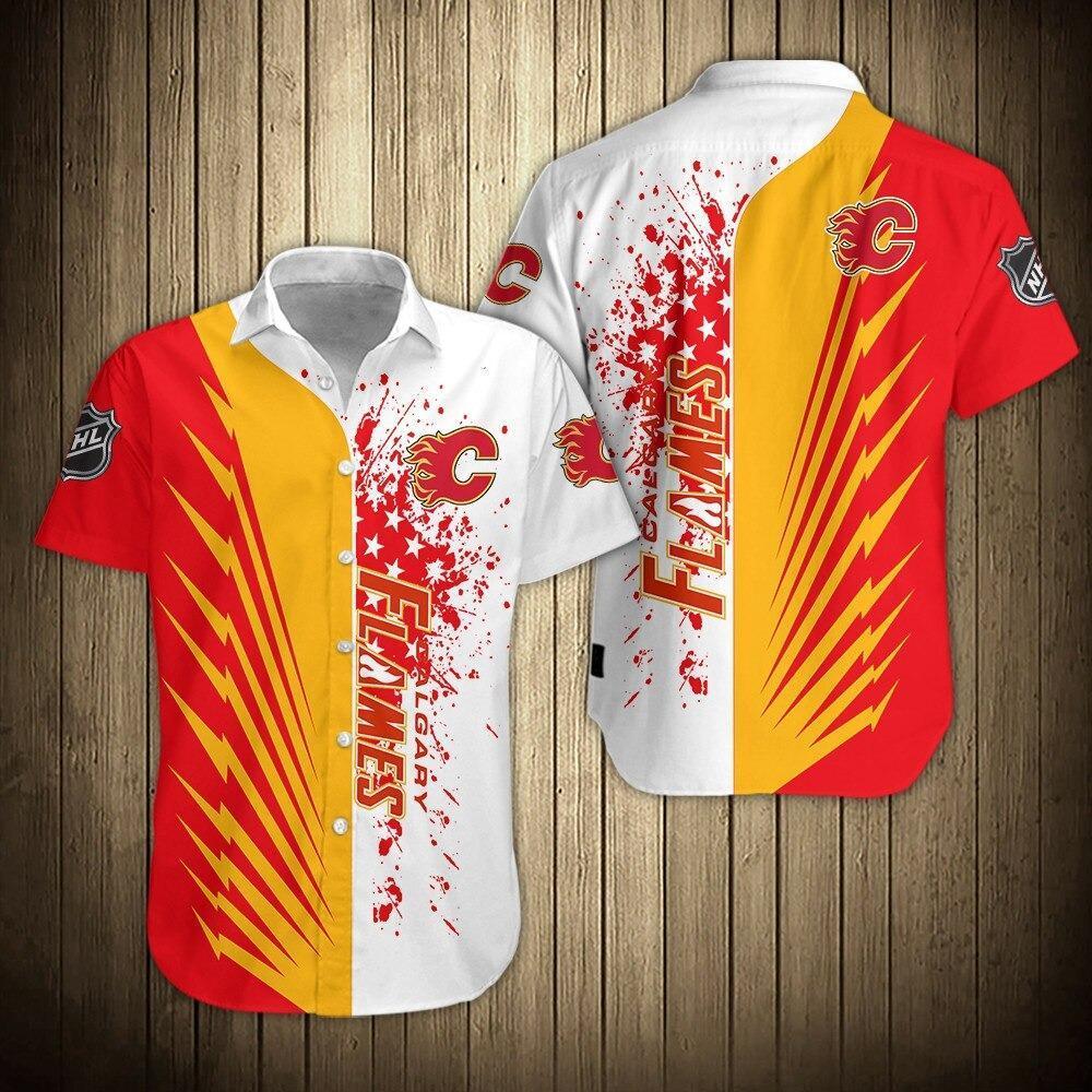 NHL Calgary Flames Short Sleeve Hawaiian Summer Shirt