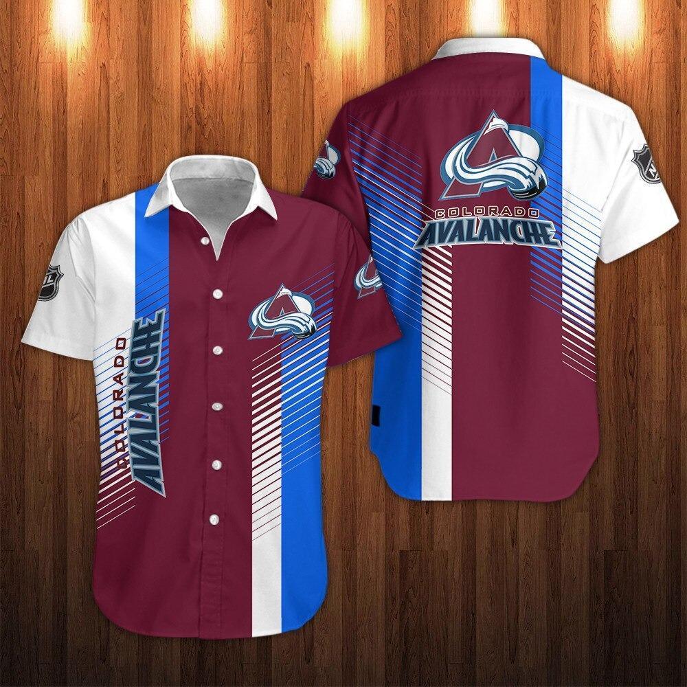 NHL Colorado Avalanche Shirts Striped Button Up Shirts