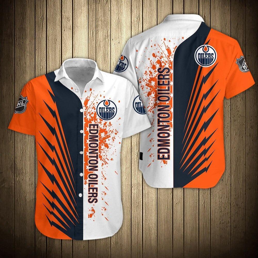 NHL Edmonton Oilers Shirts Hawaii Button Up Short Sleeve