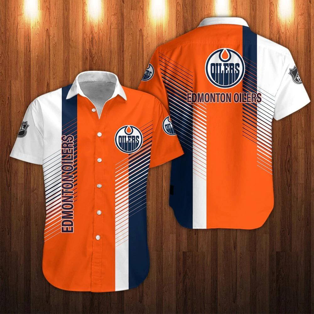 NHL Edmonton Oilers Striped Button Up Shirts Hawaiian Shirts