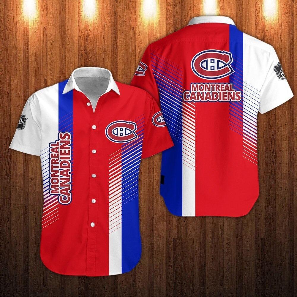 NHL Montreal Canadiens Striped Short Sleeve Hawaiian Shirt