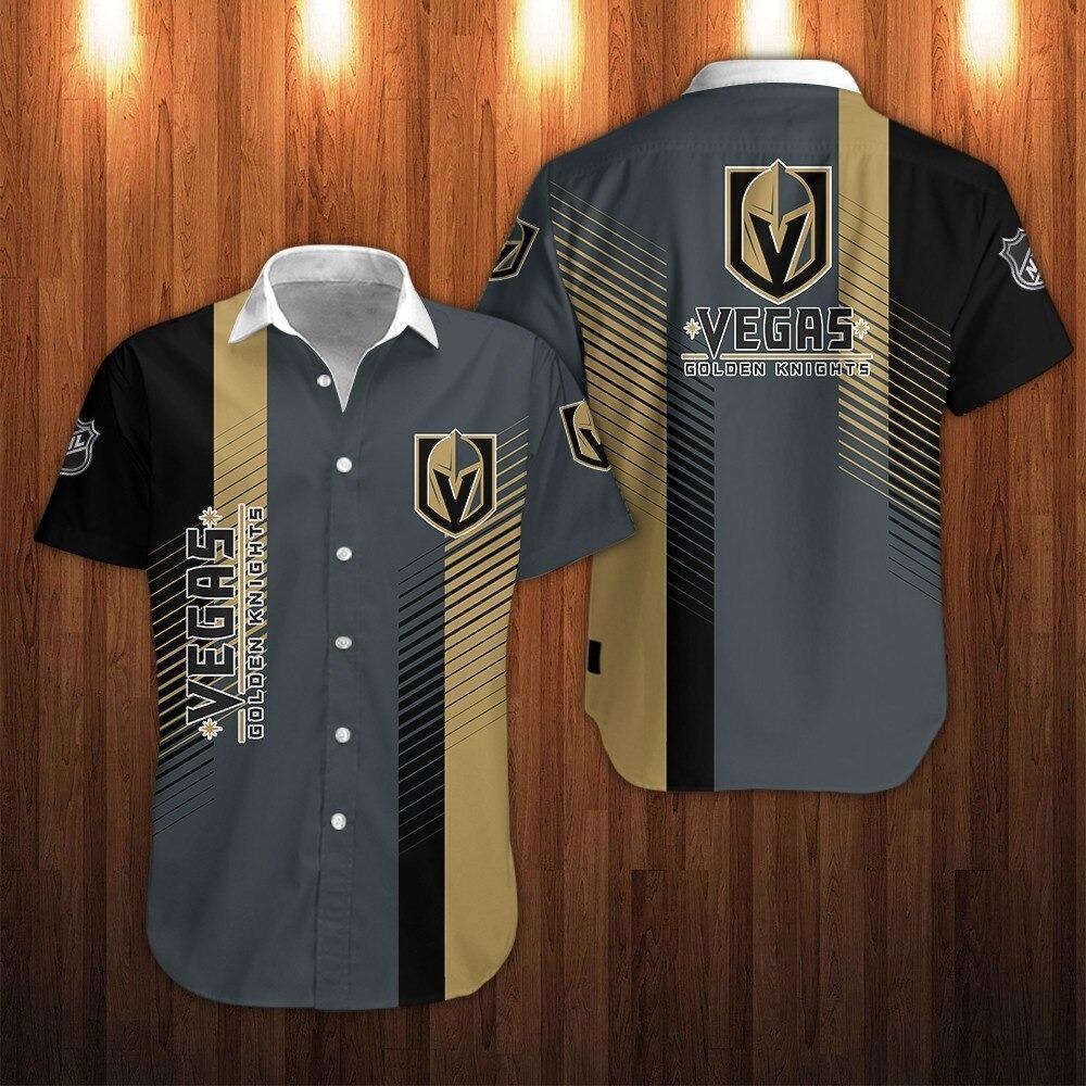 NHL Vegas Golden Knights Striped Short Sleeve Hawaiian Shirt