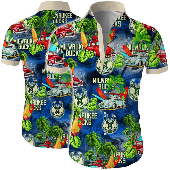 Milwaukee Bucks Tropical Flower Short Sleeve Hawaiian Shirt