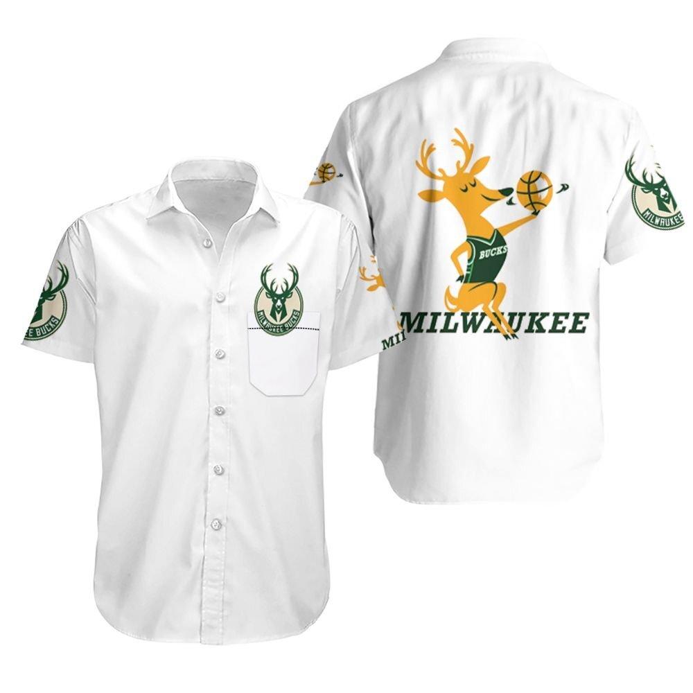 Milwaukee Bucks Basketball Classic Mascot Logo Hawaiian Shirt