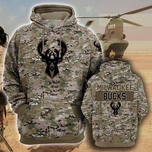 Milwaukee Bucks Camouflage Veteran Zip 3D Hoodie