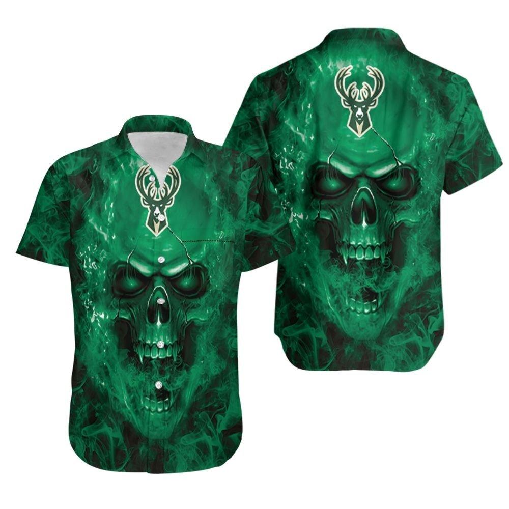 Milwaukee Bucks NBA fan skull Hawaiian Shirt